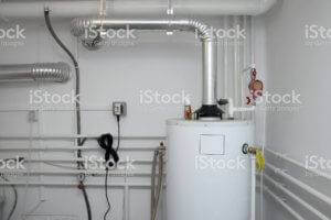a picture of a furnace and all that is hooked up to it.