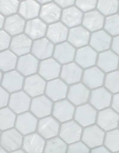 New hexagonal white floor tile.
