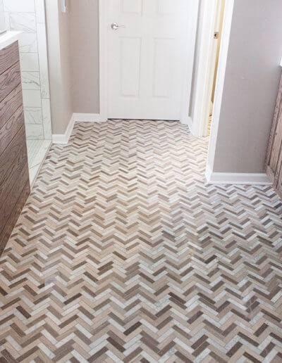View of new bathroom floor tile.