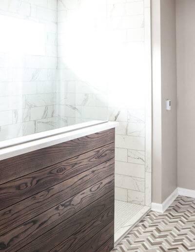Sun shines through a new bathroom privacy window.