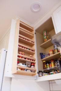 New pantry spice rack shelving.