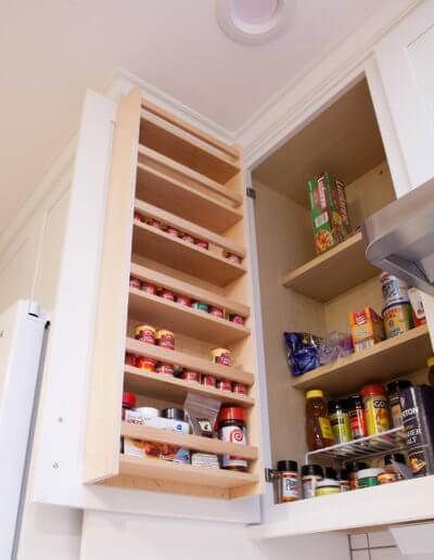 New pantry spice rack shelving.