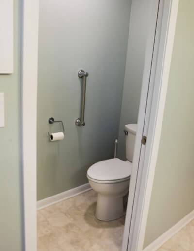 A photo of the small sectioned-off room for the toilet.