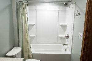 A shower and bathtub stall.