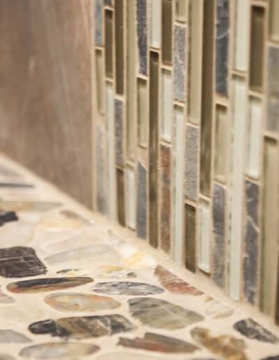 Close up of custom shower tile