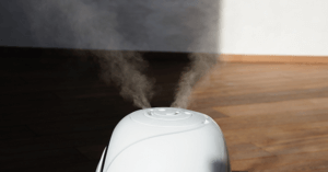 A picture of mist coming from a humidifier.