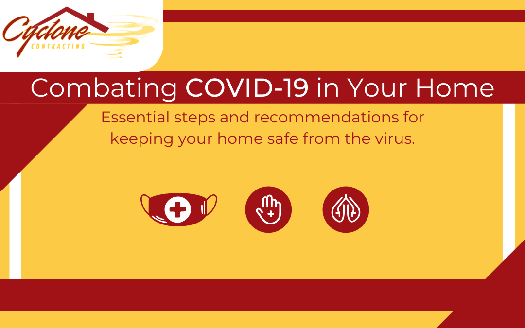 a graphic to highlight covid-19 safety measures with cyclone contracting's colors