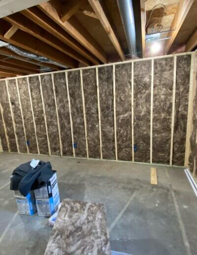 wooden framing with insulation
